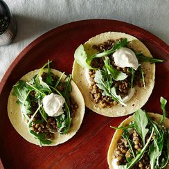 Mushroom & Lentil Tacos with Tahini-Yogurt Sauce