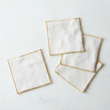 Gold Edged Ecru Coasters (Set of 4)