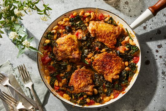 One-Skillet Crispy Chicken With Brothy Beans