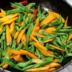 Pan Roasted Bengali Carrots and Beans with Lime