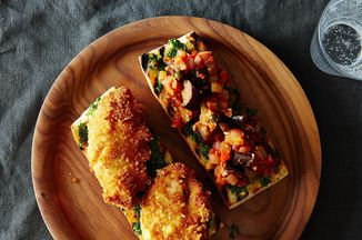 Parmesan Crusted Chicken Caponata And Pesto Sandwich