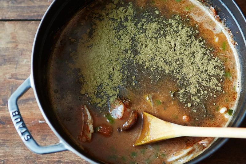 Filé powder stirred in once the gumbo comes off the heat.