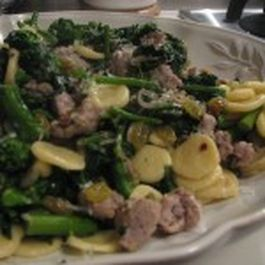 Fresh Orecciette with Broccoli Rabe, Sausage and Yellow Raisins