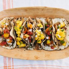 Slow Cooker Carnitas Tacos with Summer Peach & Tomato Salsas