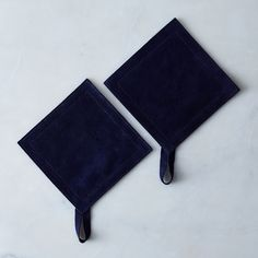 Suede Potholders, Navy (Set of 2)