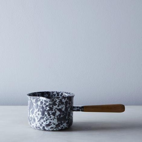 Grey Splatter Enamel Wood-Handled Saucepan