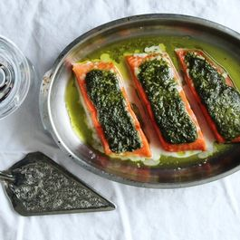 Slow Baked Salmon with Basil Pesto and a Sea of Herb Oil