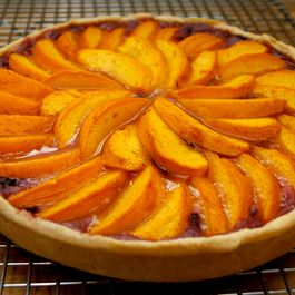 Mid-Summer Peach Tart with Blackberry Custard