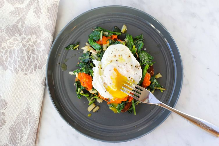 Ramps on Toast with Poached Egg and Ajvar
