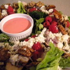 Raspberry Chicken Salad with Honeyed Walnuts and Gorgonzola