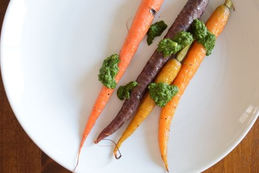 Blistered Rainbow Carrots with Carrot Top Pesto