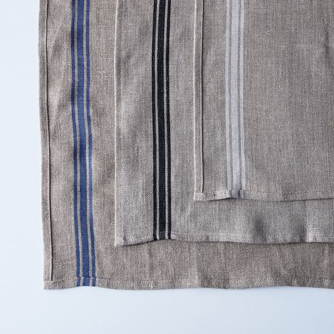Oatmeal Linen Striped Runner