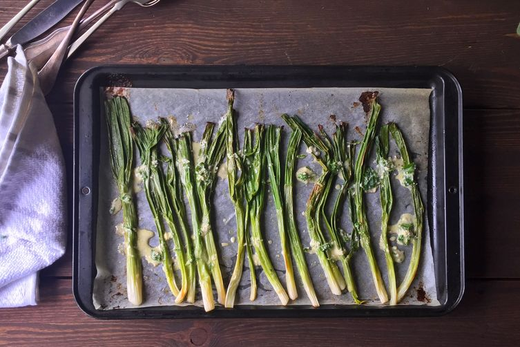Roasted Spring Onions with Horse Radish Vinaigrette