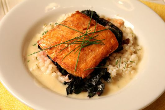 Salmon with Swiss Chard and Couscous