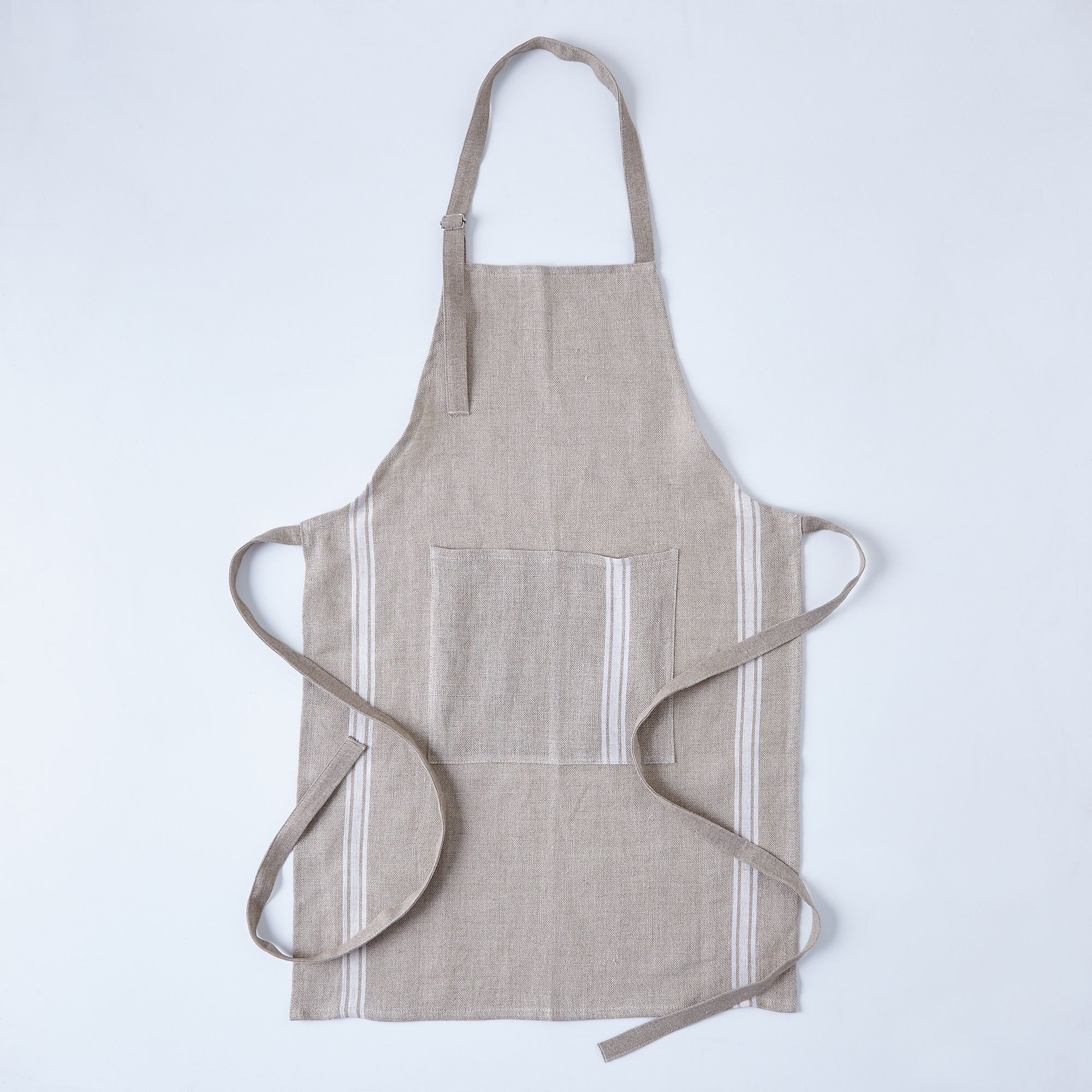 Oatmeal Linen Striped Apron - Cream