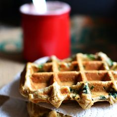 Sourdough waffles with spinach and toasted hazelnuts