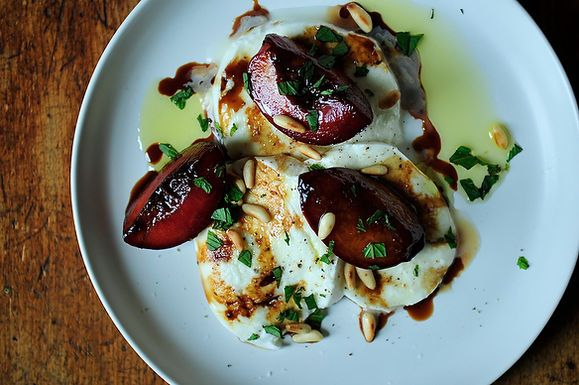 Buffalo Mozzarella with Balsamic Glazed Plums, Pine Nuts and Mint