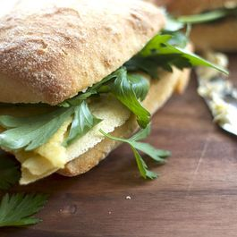Fried Chickpea Polenta Sandwich