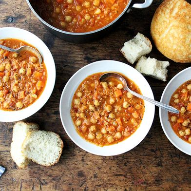 Curried Chickpea and Red Lentil Soup