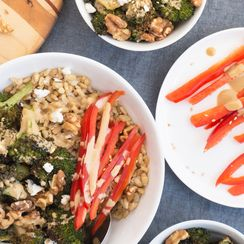 roasted broccoli barley bowls + creamy sesame tahini dressing