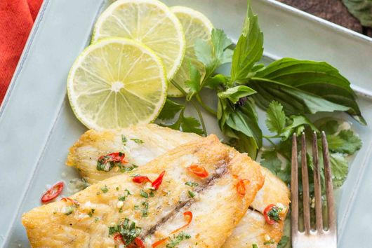 Crispy Pan Seared Barramundi with Fish Sauce Vinaigrette