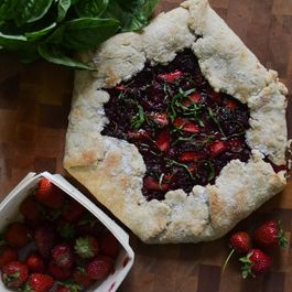 Strawberry Raspberry Basil Galette