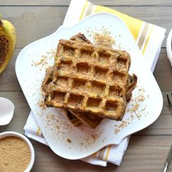 Peanut Butter & Banana French Toast Waffles