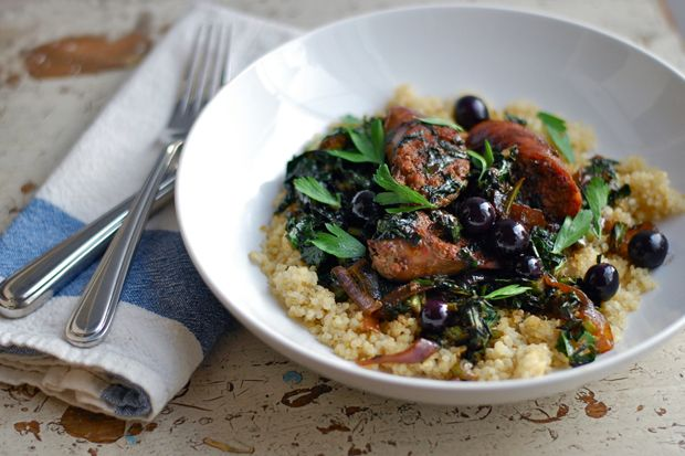 Sausage with Grapes and Kale from Food52