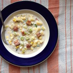 Summer Corn Chowder with Miso and Bacon