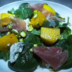 Spinach and Persimmon Salad with Prosciutto and Bleu