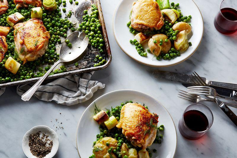 Nigella Lawson's Chicken and Pea Traybake