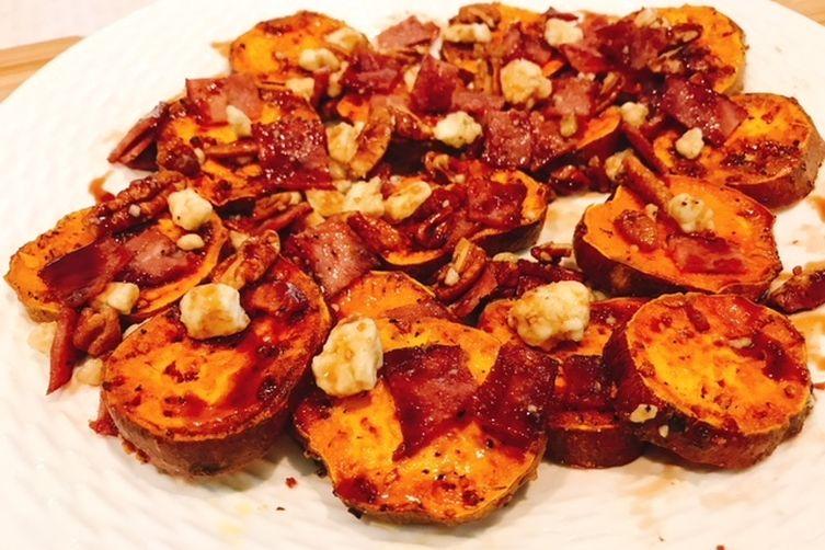 Bacon &  Blue Cheese Sweet Potatoes