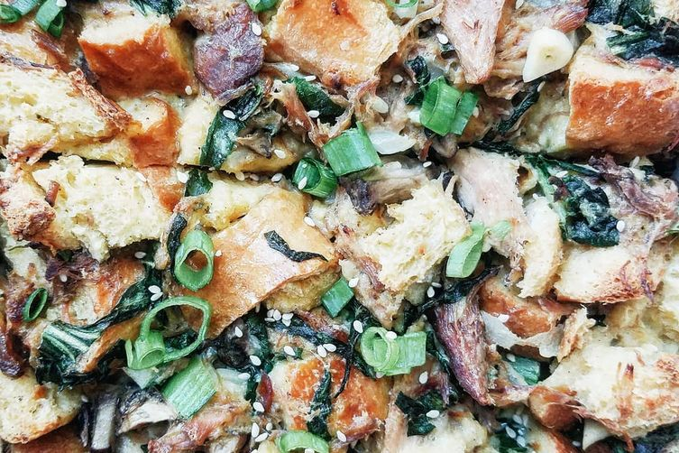 Miso Pork Bread Pudding