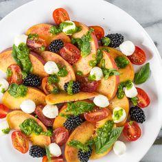 Peach & Mozzarella Salad with Basil Vinaigrette