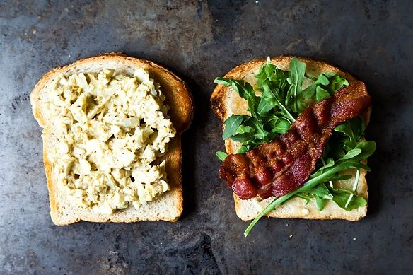 Bacon and Egg Salad Sandwich with Dukkah and Peppery Greens on Food52