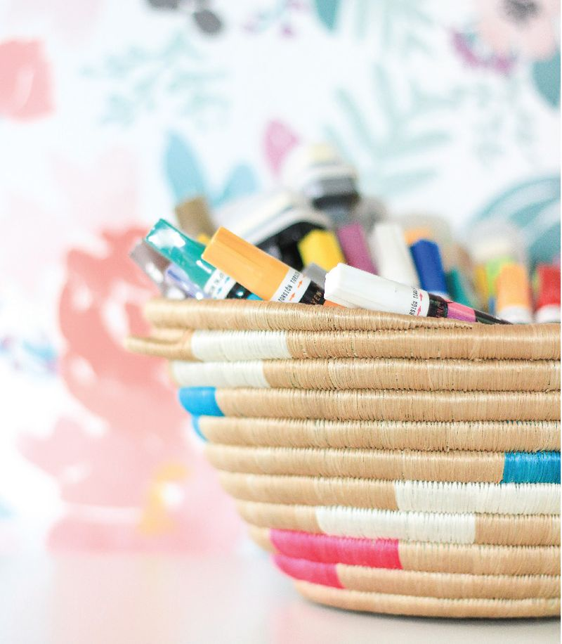 A basket as colorful as the markers within.