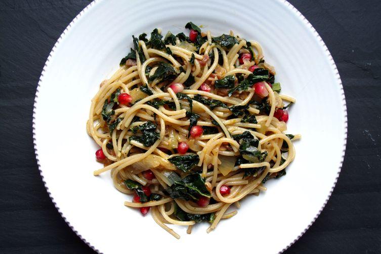 Pomegranate, Kale, & Pancetta Spaghetti