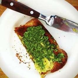 Whole Wheat Toast with Avocado Butter and Sorrel Pesto