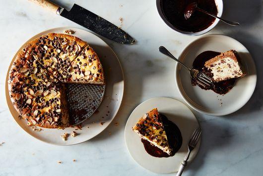 Ricotta Cheesecake Pie with Chocolate-Coffee Ganache