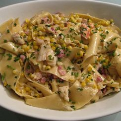 Pappardelle with Corn, Lobster, Pancetta, and Crème Fraîche