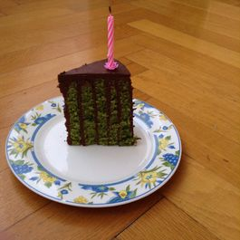 Matcha Vertical Layer Cake with Chocolate Ganache