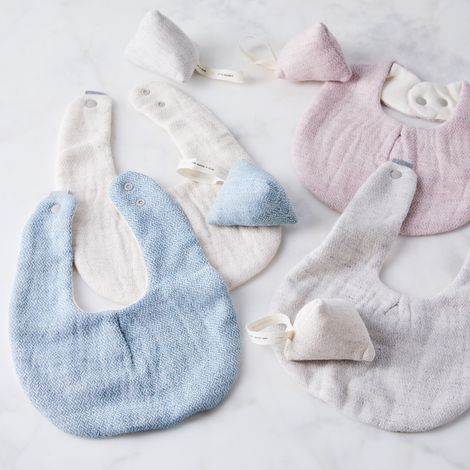 Organic Cotton Japanese Baby Bib & Rattle Gift Set