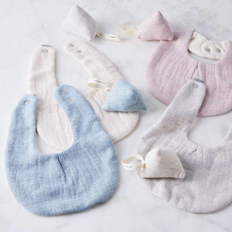 Organic Cotton Japanese Baby Bib & Rattle Gift Set