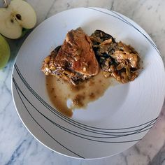 Braised Chicken with Apples, Leeks and Porcini Mushrooms