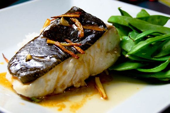 Steamed Halibut with Fried Ginger