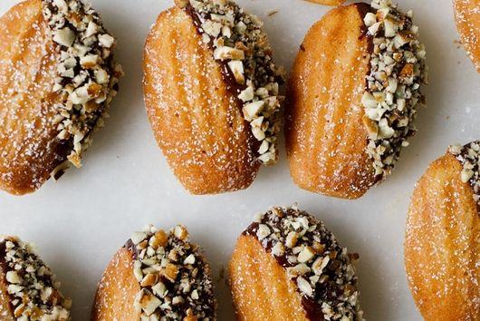 Brown Butter Bourbon Madeleines with Dark Chocolate Ganache and Pecans