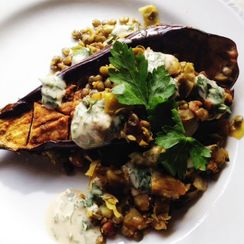 Roasted Eggplant with Lentils and Tahini
