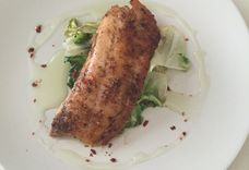 Seared Cod over Wilted Butter Lettuce and Cilantro Oil