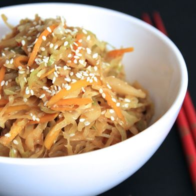 Stir Fried Cabbage with Creamy Peanut Sauce