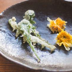 Dandelion Tempura with Curry Salt (vegan)